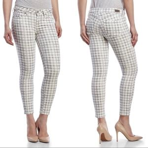 Paige 26 Verdugo Ankle Cut Gray Gingham Jeans Pant